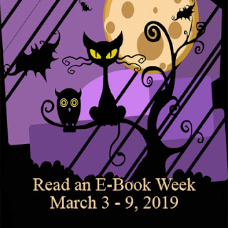 Read an Ebook Week - March 3-9, 2019 (spooky Hallowween themed with full moon, bat, owl, and black cat)