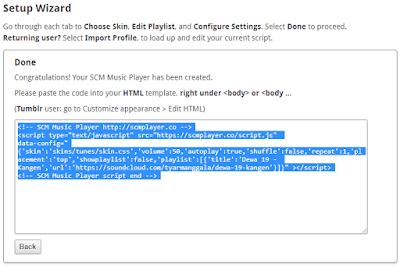 Contoh gambar ilustrasi kode HTML SCM musik player