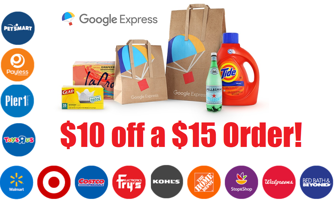 10 off a 15 google express order free 2 day shipping awesome deals from walmart target. Black Bedroom Furniture Sets. Home Design Ideas