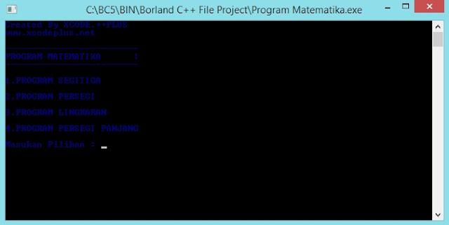 Gambar Output Tampilan Menu Utama Program