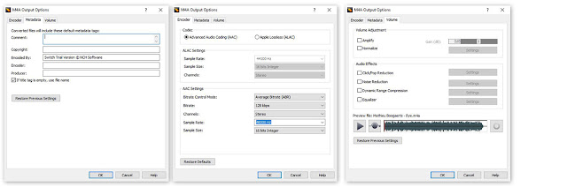 Encoder options windows for M4A encoding in Switch