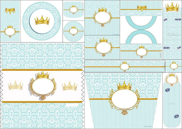 Golden Crown In Light Blue Free Printable Candy Bar