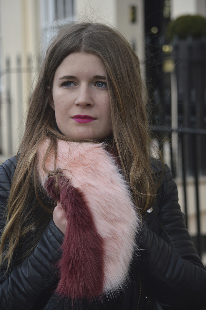 french connection fur scarf blogger