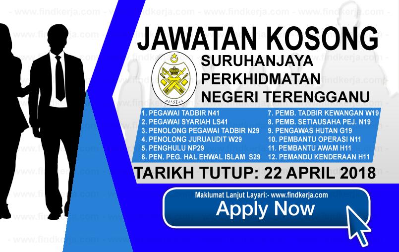 Jawatan Kerja Kosong SPNT - Suruhanjaya Perkhidmatan Negeri Terengganu logo www.findkerja.com april 2018