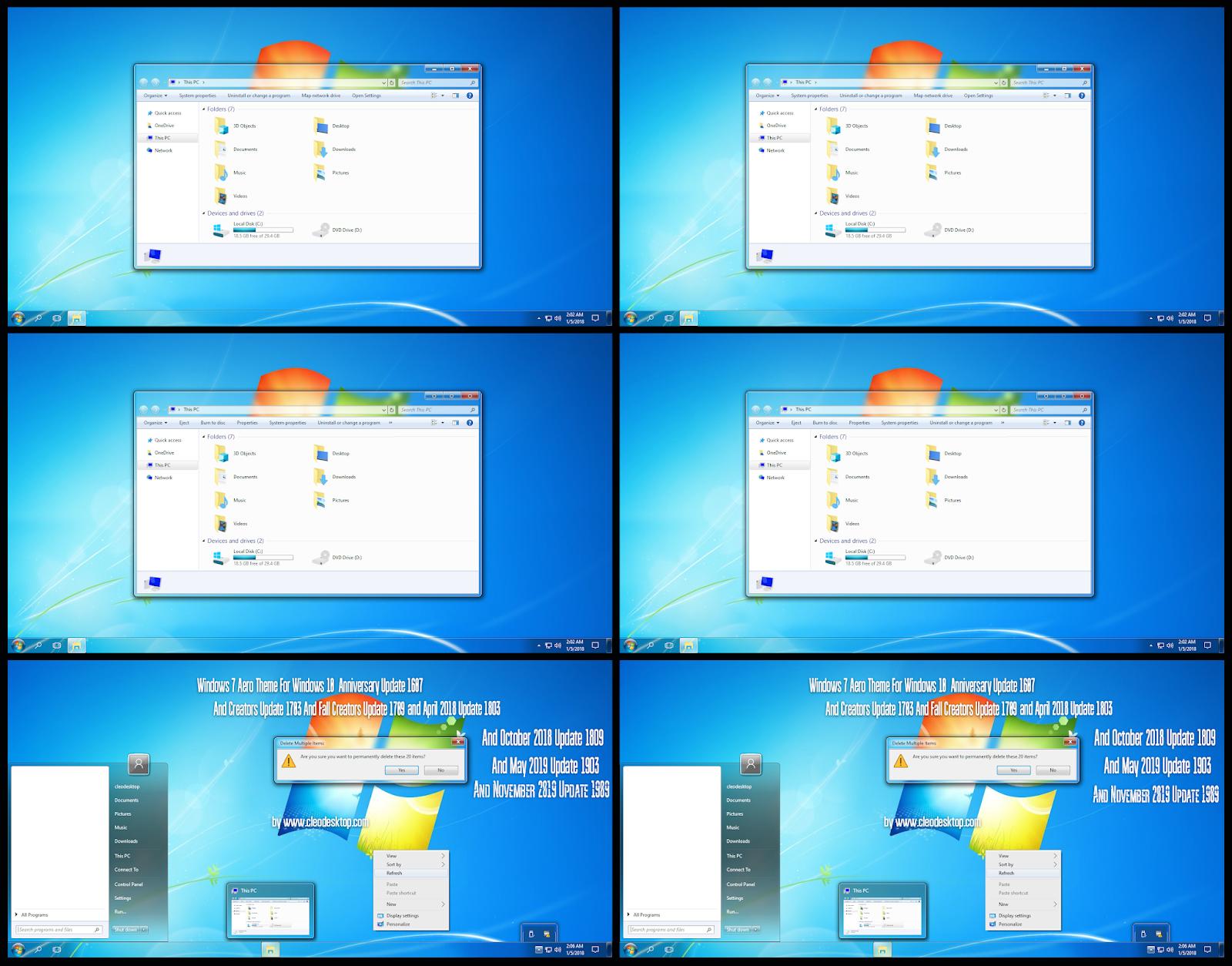 Windows7 Aero Dark and Light Theme Windows10 November 2019 Update 1909