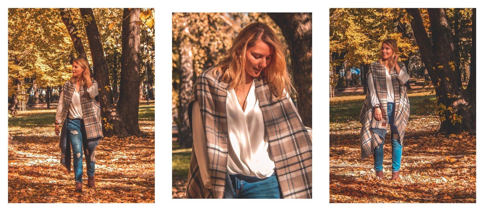 kardigan blueshadow anataka cena bluzka biała bluzka kopertowa w co się ubrać na święta stylizacja  outfit stylizacja z jeansami moda damska kardigan krata jeans moda damska blogerka