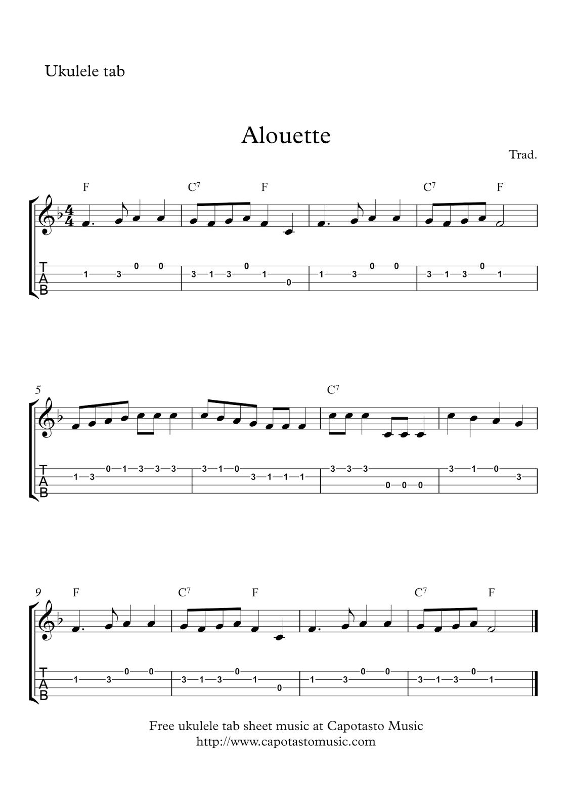Alouette : Free easy ukulele tab sheet music