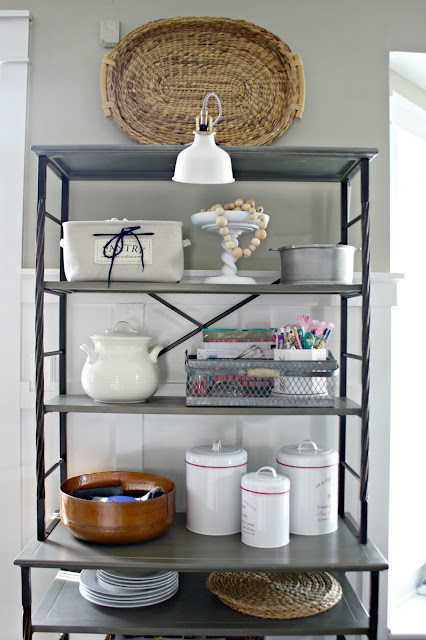 Wood and metal kitchen shelving