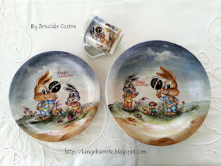 Kit infantil, porcelana pintada a mão.