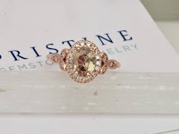 chocolate peach sapphire rose gold engagement ring vintage engagement ring