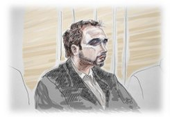 "An artist's impression of Kim De Gelder on the first day of his trial at Gent's courthouse on February 22, 2013. A nursery killer disguised as Batman villain 'The Joker' told a court on Monday he was left ""no choice"" but to stab to death two toddlers and their minder at a Belgian creche -- despite saying he knew murder was wrong"
