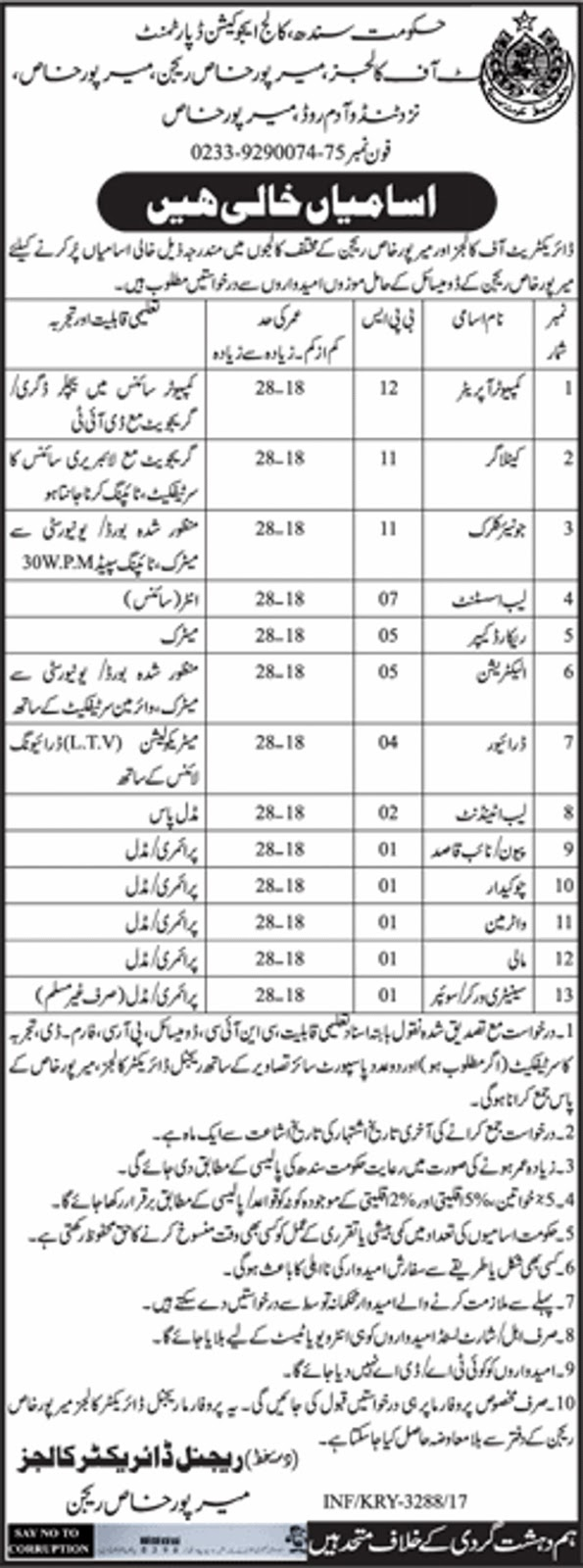 Jobs in Sindh College Education Department Mirpurkhas 6 july 2017