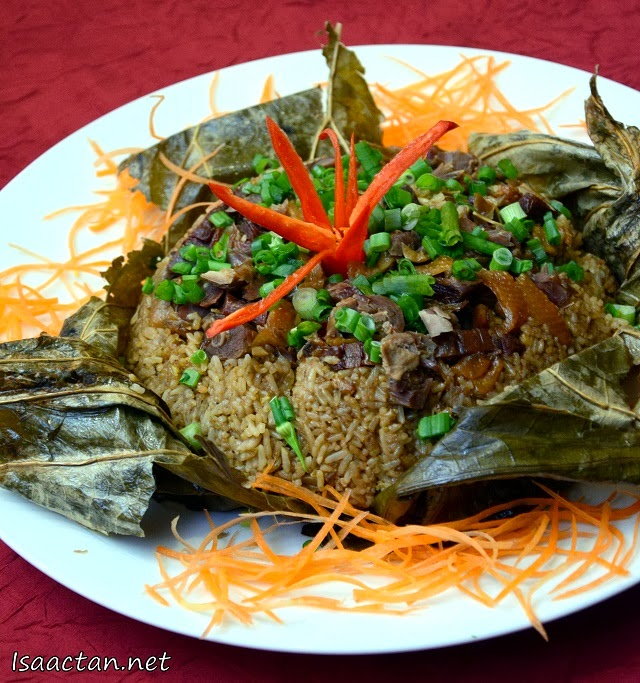 Glutinous Rice with Assorted Preserved Meat in Lotus Leaf