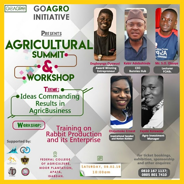 [EVENT] : Go Agro initiative sets to Host an Agricultural seminar  and workshop in the city of Ibadan
