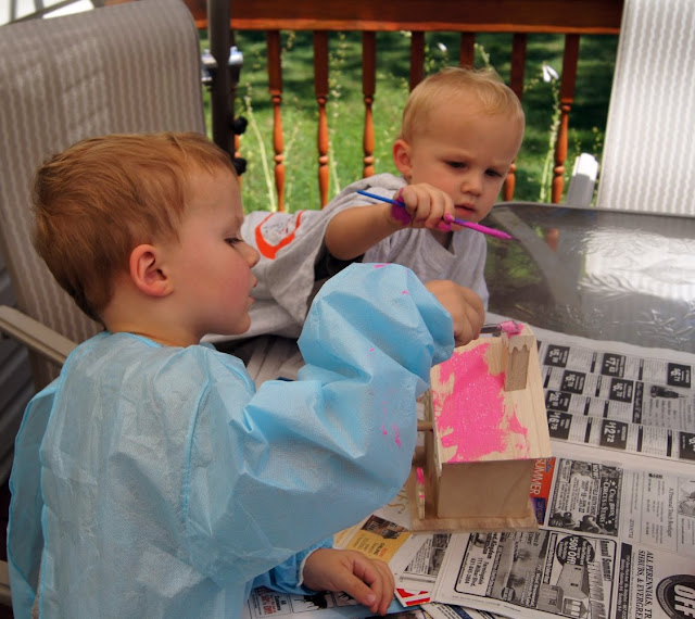 painting_a_birdhouse Toddlers Painting Birdhouse