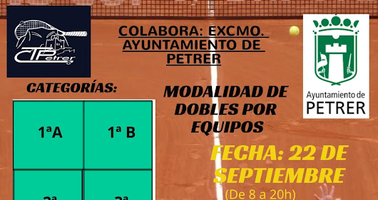 PROXIMO TORNEO LOCAL CLUB TENIS PETRER 12H 2018