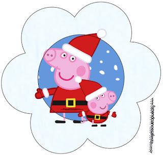 Tarjeta con forma de flor de Peppa Pig en Navidad.
