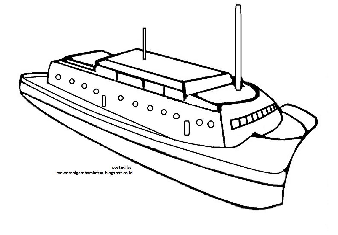 Mewarnai Gambar Mewarnai Gambar Sketsa Transportasi Kapal 2