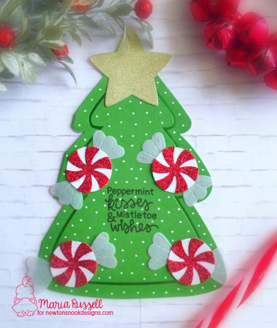 Peppermint Holiday Card by Maria Russell | Newton's Candy Cane Stamp Set and Peppermint Die Set by Newton's Nook Designs #newtonsnook #handmade