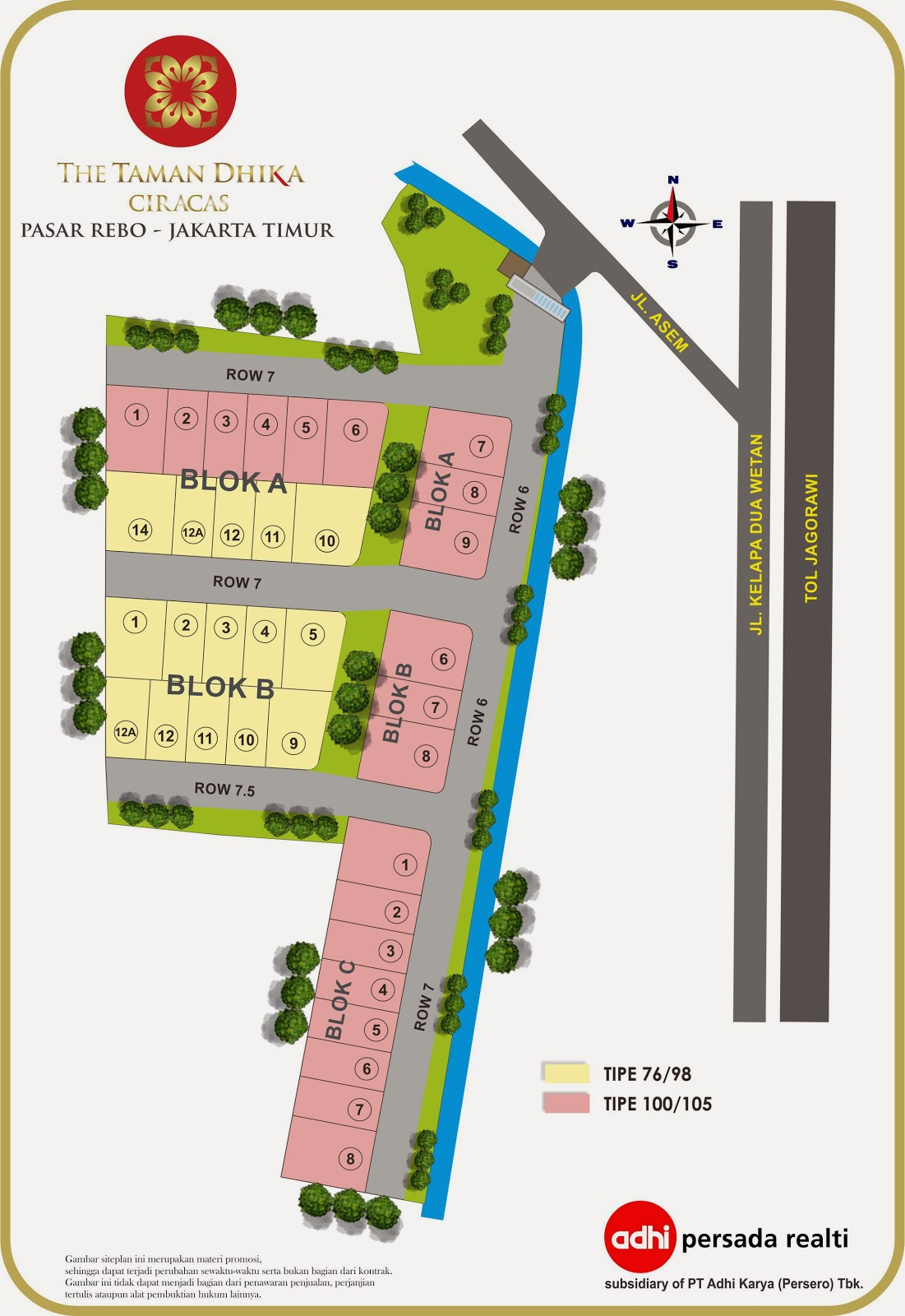 Site Plan ~ THE TAMAN DHIKA CIRACAS JAKARTA TIMUR