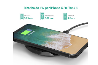 Caricabatterie Wireless per iPhone X, iPhone 8 e Samsung Galaxy OGGI SCONTATISSIMO
