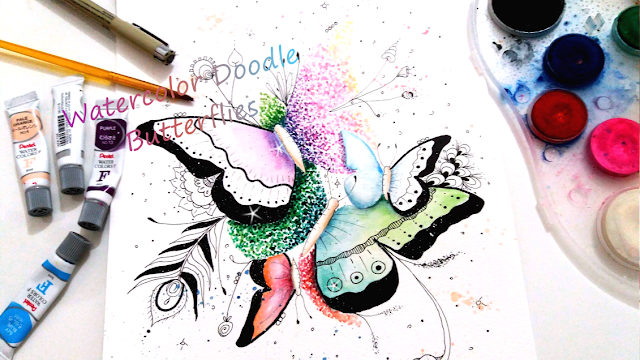 Doodle Butterflies Ink and Watercolor