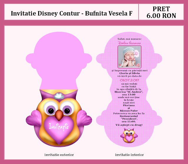invitatii botez contur Bufnita Vesela