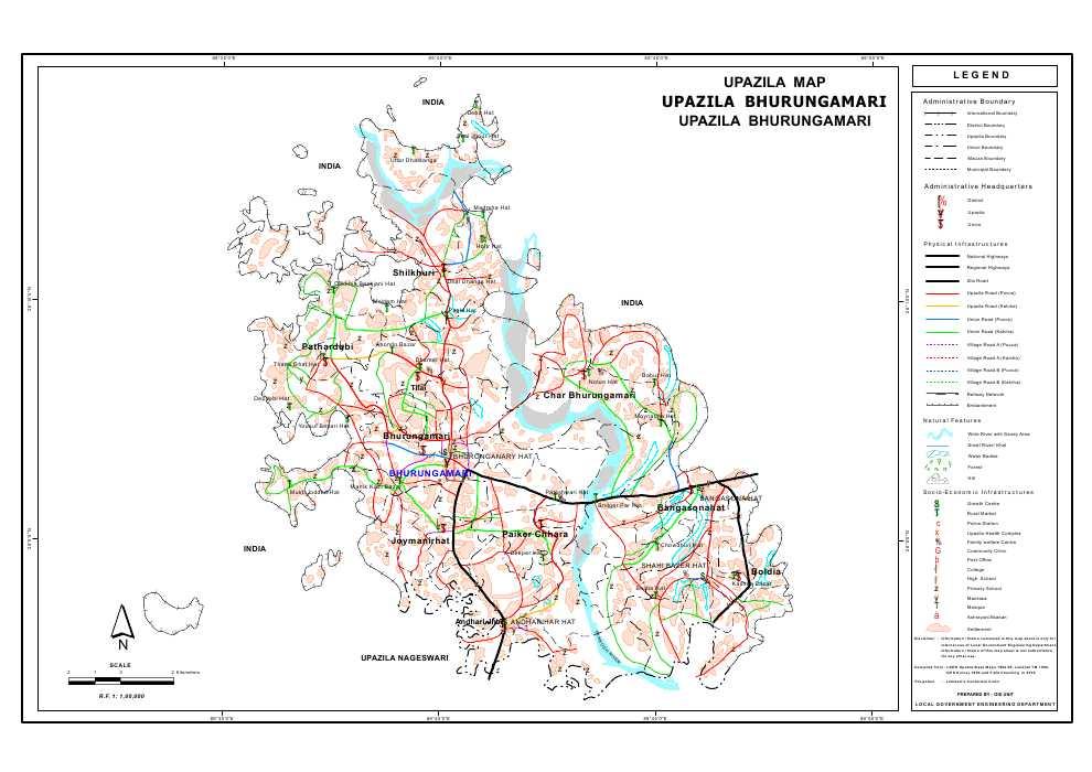 Bhurungamari Upazila Map Kurigram District Bangladesh
