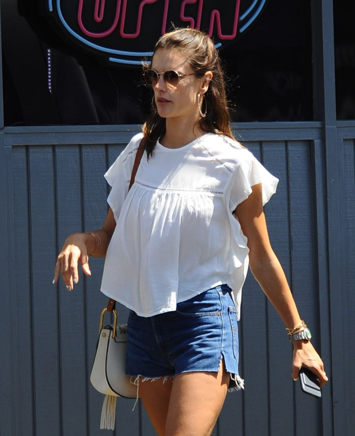 Photos of Alessandra Ambrosio In Denim Shorts Out In Los Angeles
