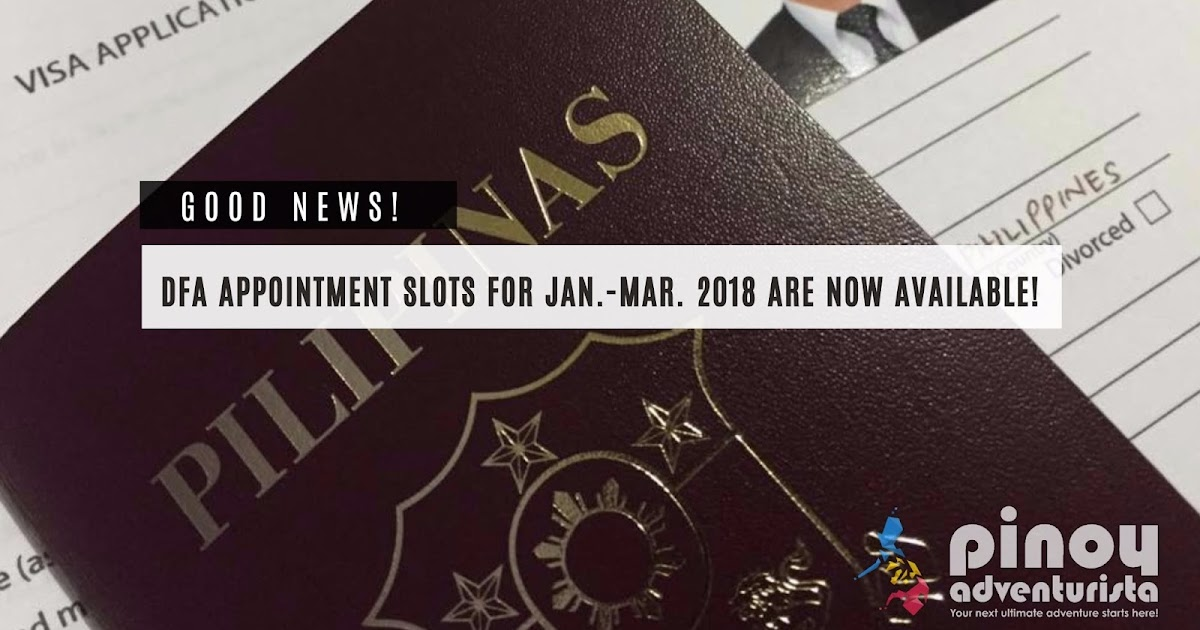 Dfa Passport Appointment Slots For January To March 2018