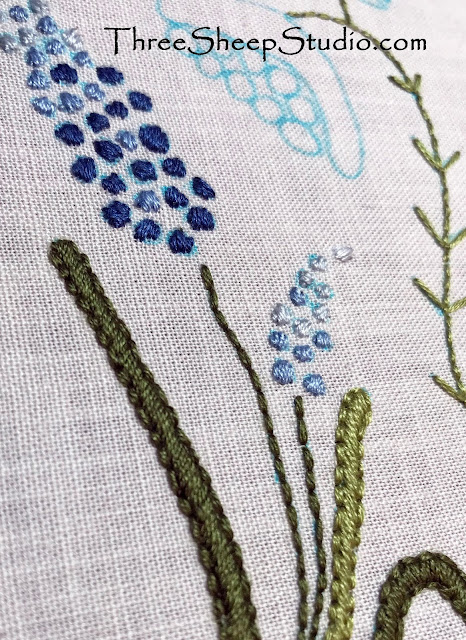 'Wildflowers' Hand Embroidery by Rose Clay at ThreeSheepStudio.com
