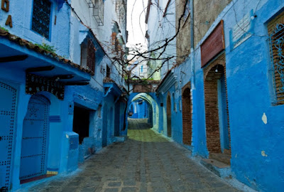 Casablanca Morocco has beautiful buildings in shades of blue in the city of Chefchaouen.
