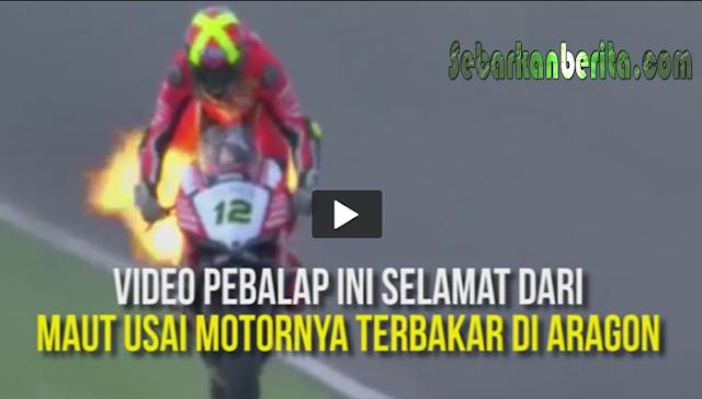 Detik-detik Menegangkan Seorang Pebalap Motor Superbike Lolos Dari Maut Usai Motornya Terbakar