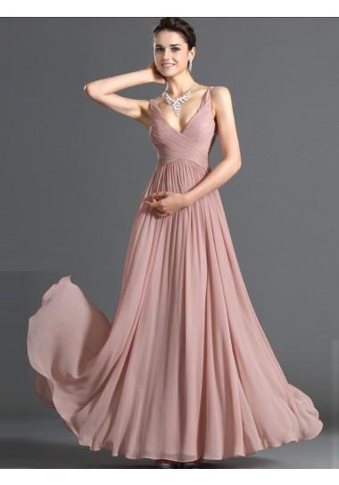 A-line V-neck Chiffon Prom Dresses #USALF290