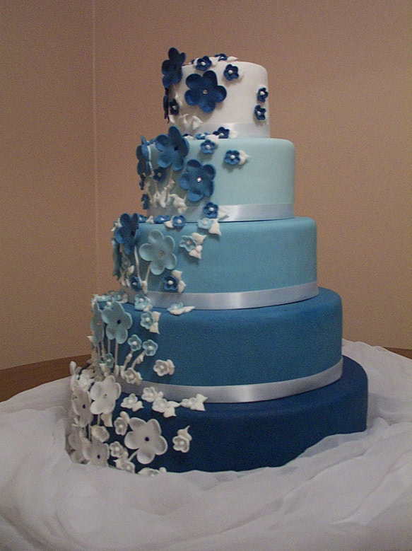 Cake Place 5 Tier Fading Blue And White Wedding Cake Accented With