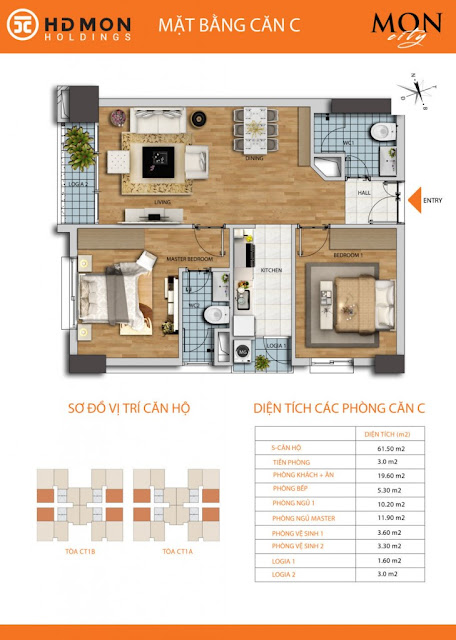 Căn hộ C chung cư Mon city Mỹ Đình- 61,5 m2 thông thủy