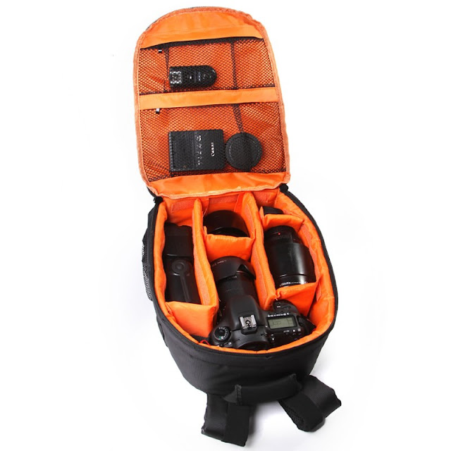 حقيبة ظهر المصور من الداخل بلون برتقالي