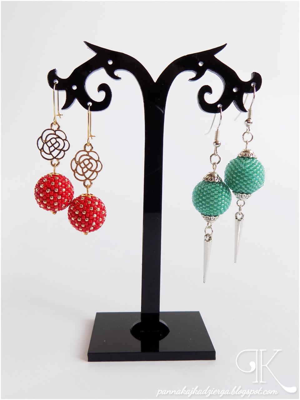 beaded ball, kolczyki, toho, earrings, gold, toho beads, złoto, biżuteria, jewellery, rękodzieło, handmade