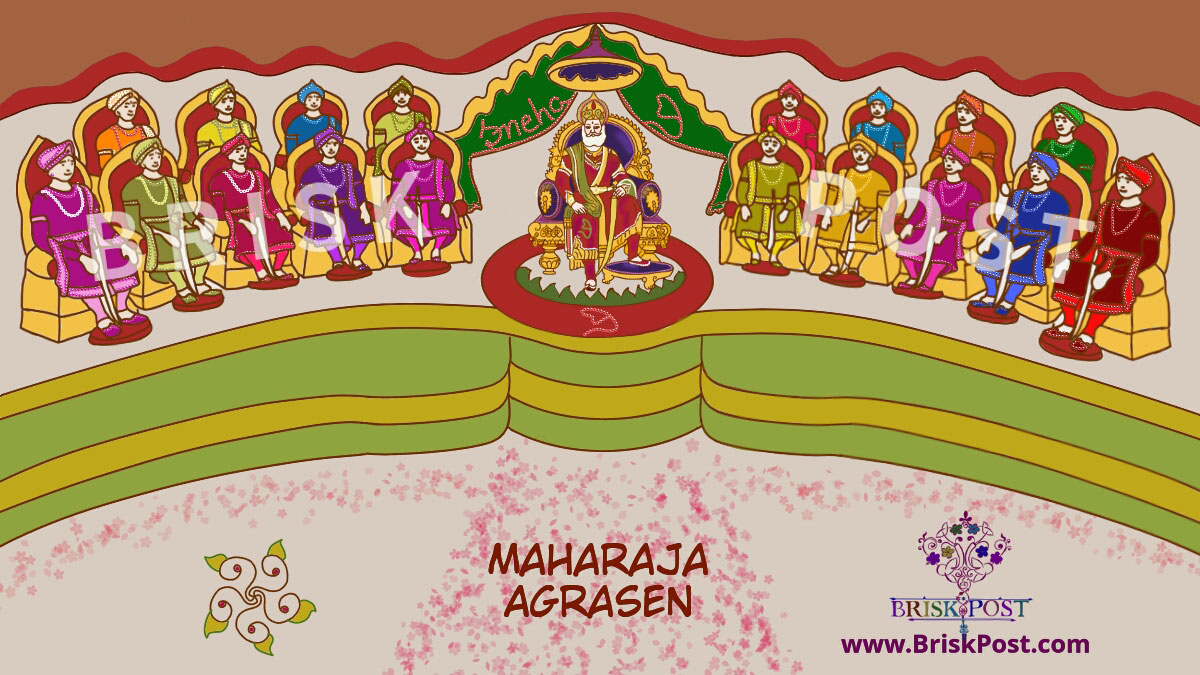 Agroha King Maharaja Agrasen on throne with his 18 sons in darbar sabha cartoon illustration