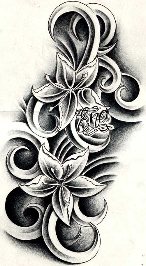 custom flowers tattoo design by agit