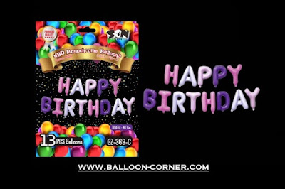 Balon Foil Huruf HAPPY BIRTHDAY Monochrome