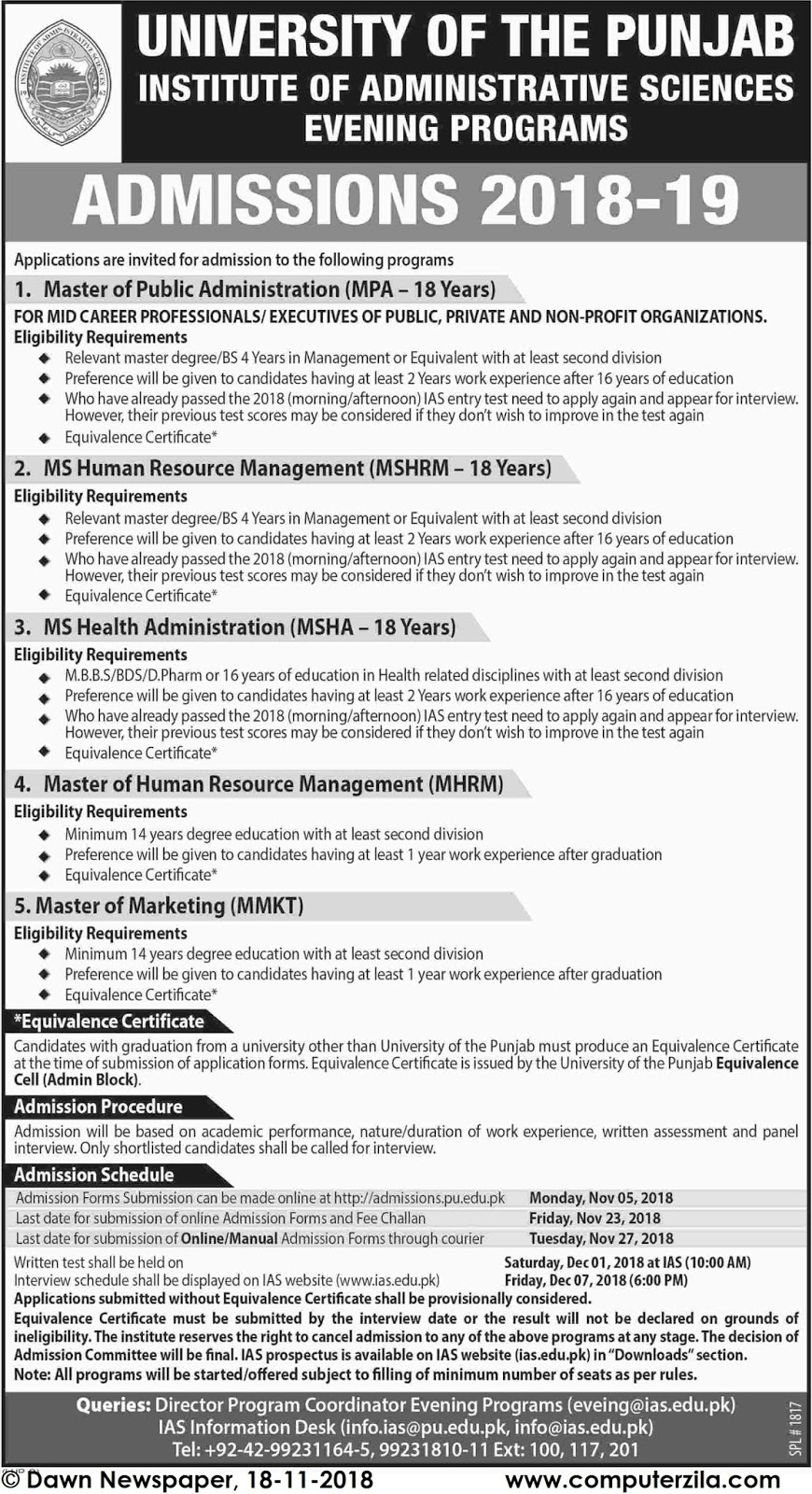 Admissions Open For Fall 2019 At PU Lahore Campus