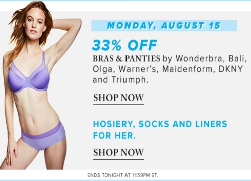 Hudson's Bay Deal of the Day 33% Off Bras & Panties