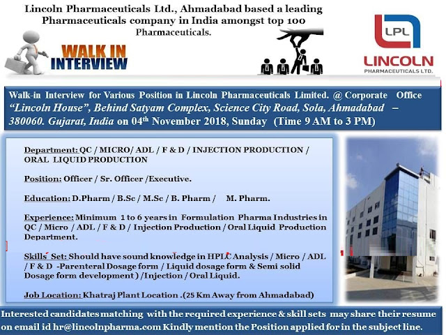 Lincoln Pharmaceuticals Ltd  Walk In for Quality Control, Production, Microbiology, ADL, F&D For 4 November