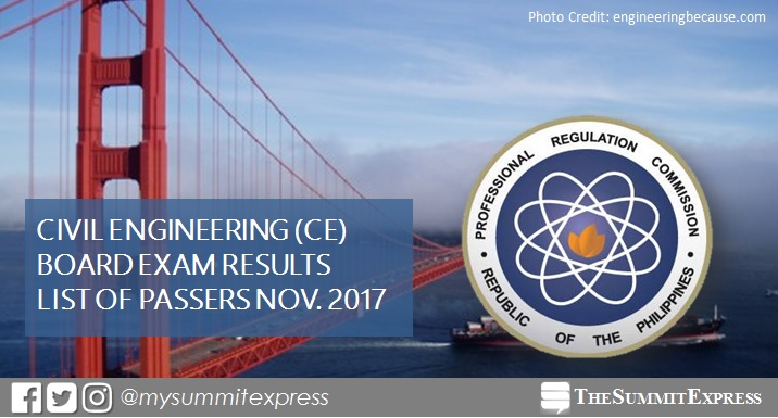 November 2017 Civil Engineer CE board exam passers list, top 10