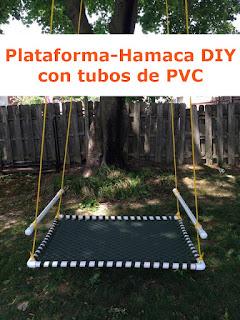 plataforma hamaca DIY hecha con tubos de pvc