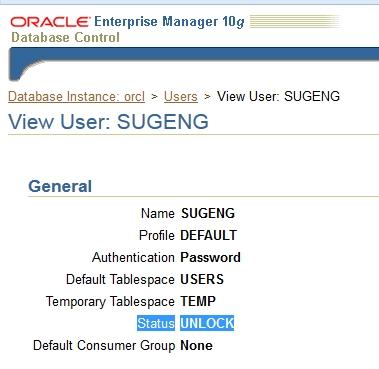 Cara Membuat User Baru di Oracle Enterprise 10g