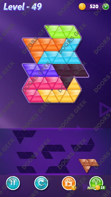 Block! Triangle Puzzle 7 Mania Level 49 Solution, Cheats, Walkthrough for Android, iPhone, iPad and iPod