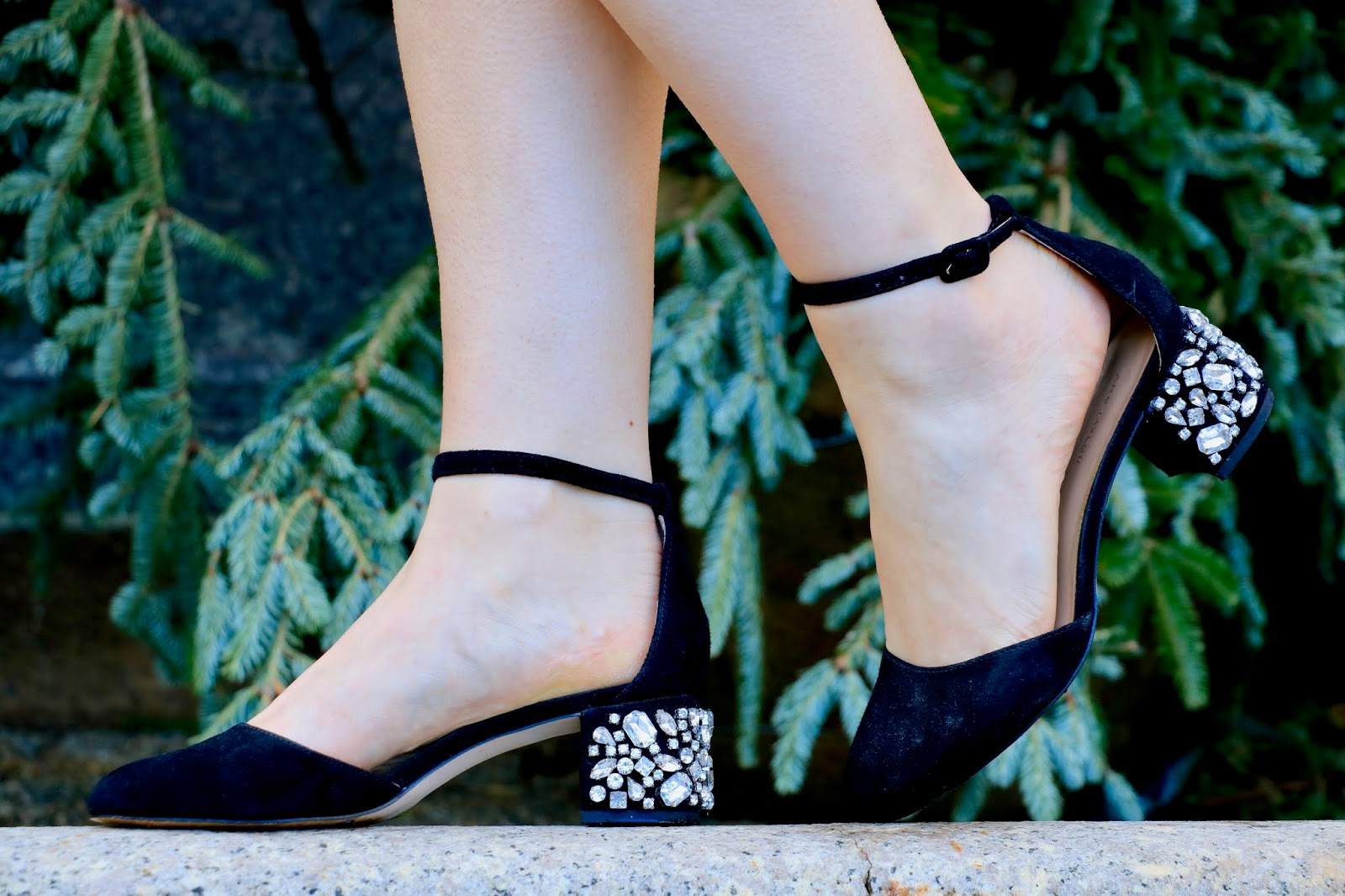 Nyc fashion blogger Kathleen Harper wearing ankle-strap embellished heels