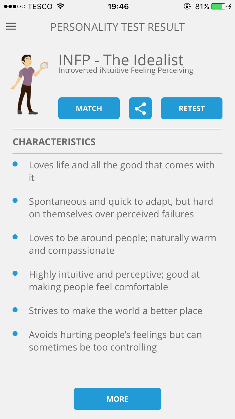 app review personality match being ashleigh there s also an in depth look at your personality which you can also if you want to break every point down into a more detailed summary
